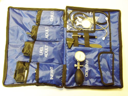 Aneroid-kit (Aneroid Sphygmomanometer Kit 5 Cuffs included Paramedic Blue Bag Blood Pressure Monitor by ICE Medical)