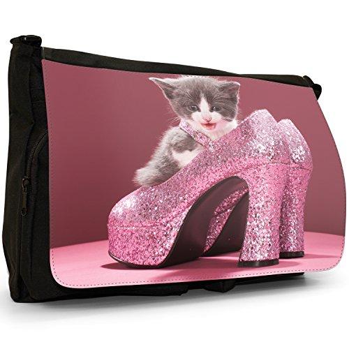 Gattini Nero Grande borsa scuola nero Cats Queen Diva Kitten with Glittering Pink High Heels