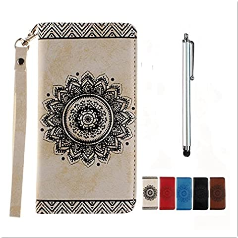 KSHOP Premium Accessory for Samsung Galaxy S7 Flip Stand PU Leather Wallet Case Ultra Slim Magnetic Closure Elegant Cover Kickstand Folio Scratch-resistant Shockproof Case Classic Fantasy Vintage Indian Tribal Mandala + Metal Touch Pen, Retro