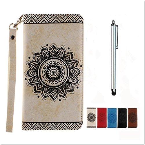 KSHOP Disegno rilievo PU Pelle retro bianco modello fiore indiano mandala goffratura per iPhone 7 Plus / iphone 7S plus 5.5