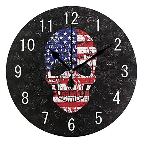 Domoko Home Decor Sugar Skull American Flagge Acryl, Rund Wanduhr Geräuschlos Silent Uhr Kunst für Wohnzimmer Küche Schlafzimmer (De Usa En Dia Halloween)