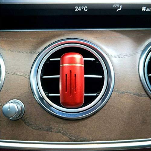 SIOJB Deodorante per Auto in Lega di Mini Auto Deodorante per Auto in Auto Ventilazione Automatica Profumo Diffusore di Aroma Balsamo Solido Purificatore d'Aria Accessori-Rosso
