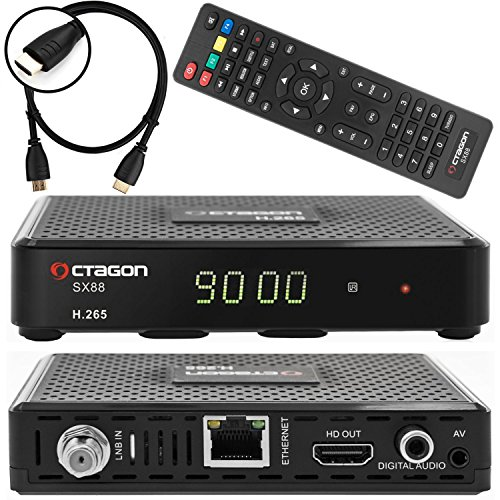 Octagon SX88 Satelliten Sat Receiver DVB-S/S2 Multistream inkl. Anadol® HDMI Kabel (HDTV, HDMI, USB, Digital Audio, AV-Out, Externer IR Sensor, LAN, H.265, Youtube, Stalker, Kodi, Internetradio)