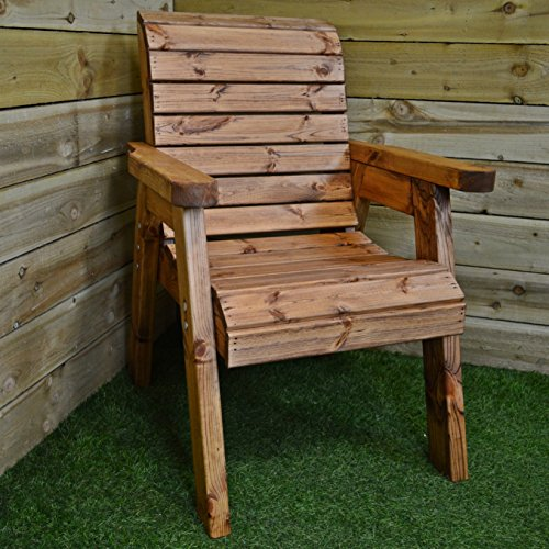 Samuel ALEXANDER Hand Made 6 Seater Chunky Rustic Wooden Garden Furniture Table and Chairs Set
