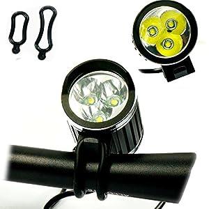 Wii Fire Linterna Lámpara Frontal Cabeza Cree XM-L T6 3 LED 4200LM Luz Blanco Camping,con 2 x Luz Luces Lámpara Trasera para Bici Bicicleta
