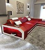 Sofa Dreams Ledersofa Prato L Form Rot-Weiss