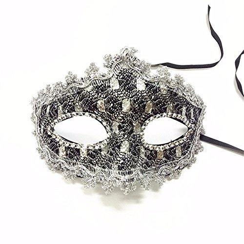 (Masken Gesichtsmaske Gesichtsschutz Domino falsche Front Venedig Make-up Tanz Show Party Halb Gesicht Weibliche Maske Silber)