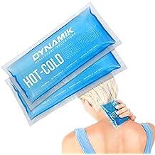 Dynamik Products - Pack de 2 bolsas de gel - Para tratamiento de compresión con frío y calor en cuello, rodilla, hombro, brazo y cabeza - Recuperación y alivio efectivo del dolor - 27 x 14 cm