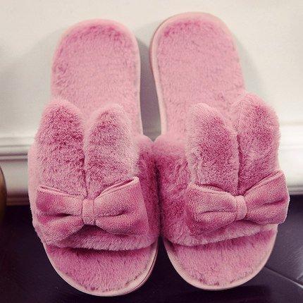 DogHaccd pantofole,Il cotone pantofole inverno femmina incantevole soggiorno di casa con anti-slittamento peluche caldo pantofole, autunno e inverno Rosso1