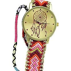 Ularmo Women Girls Dreamcatcher Gold Dial Weaved Bnad Bracelet Multicolors Dress Watche Hot Pink+Pink