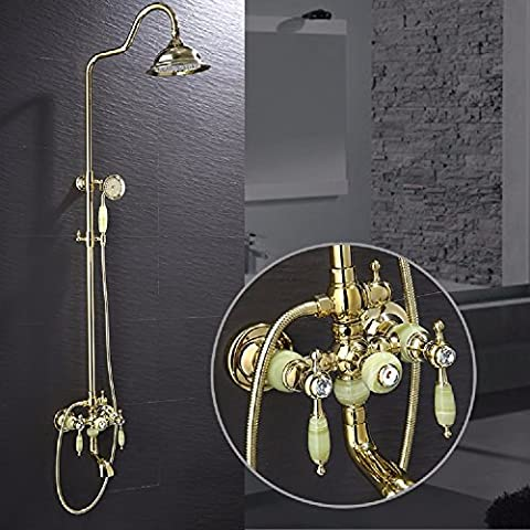 KHSKX Multi-layer plating shower sets, rose gold shower, jade double