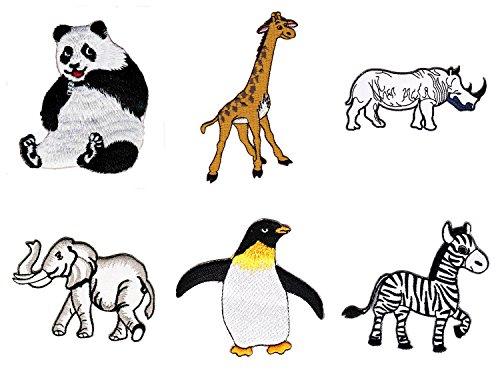 Zoo Tiere Aufnäher 6 Stück Bügelbild Patch