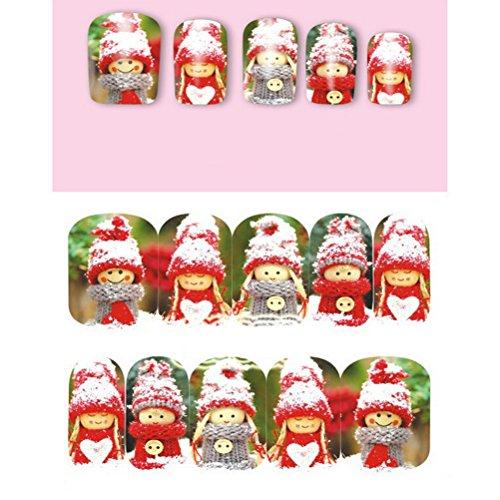 OULII 10pcs Nail Art Stickers Noël bonhomme de neige dessin Noël bonhomme de neige Nail Art Stickers Autocollants