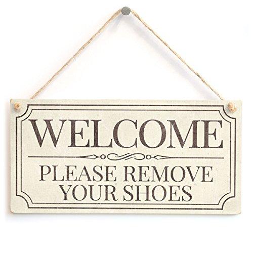 Welcome entfernen Sie bitte Ihre Schuhe–Lovely Vintage Style handgefertigt Schild Take Off Schuhe (Bitte Entfernen Sie Schuhe Tür Matte)