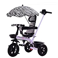 MC-F Kids Tricycle, with Sun Canopy, Back Storage and Removable Parent Handle, Children 3 Wheel Pedal Bike, for 1-6 Years Kids and Toddlers,White
