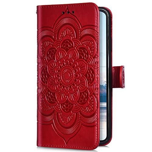 Uposao Kompatibel mit iPhone 8 / iPhone 7 4.7 Handyhülle Mandala Blumen Muster Handy Schutzhülle Ledertasche Flip Case Handytasche Wallet Hülle Bookstyle Klappbar Lederhülle Magnetisch,Rot