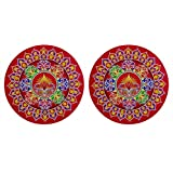 DollsofIndia Pair Of Rangoli Stickers - Dia - 9 Inches Each (RX07)