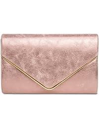 08616e9005355 CASPAR TA349 Damen elegante Envelope Clutch Tasche Abendtasche mit langer  Kette