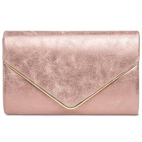 CASPAR TA349 Damen elegante Envelope Clutch Tasche / Abendtasche mit langer Kette, Farbe:pink;Größe:One Size