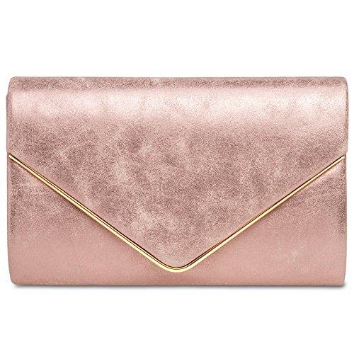 CASPAR TA349 Damen elegante Envelope Clutch Tasche/Abendtasche mit langer Kette, Farbe:pink;Größe:One Size