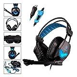 SADES A30S Pro estéreo USB de PC Gaming Headset la venda de los auriculares de sonido envolvente de alta fidelidad con control de volumen del micrófono Bajo vibración Over-the-Ear azul libre de la unidad de iluminación LED para PC Gamer (negro)