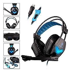 SADES A30S Pro Stereo USB Gaming Vibration Headset Kopfhörer mit Mikrofon Hifi Buit-in blauer Beleuchtung für PC Gamer (Schwarz)