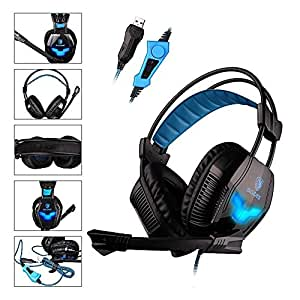 SADES A30S - Cuffie Surround USB da PC Gaming Headset, Microfono Hifi, Vibrazione ai Bassi, Controller per Volume, Luce a LED Blue (Nera)