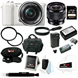 Sony Alpha (ILCE-5100L/W ILCE-5100LW ILCE-5100) 24MP 16-50mm Interchangeable Lens Camera With 3-Inch LCD (White) + Sony SEL1018 10-18mm Wide-Angle Zoom Lens + Sony 32GB SD Card + Wasabi Power NP-FW50 Battery And Charger + Two Tiffen UVP Filters + Deluxe A