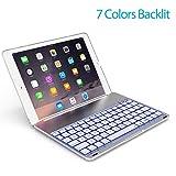 OBOR Aluminiumlegierung iPad Pro 9.7 Tastaturkoffer - 7 Farben Hintergrundbeleuchtung Flip Wireless Bluetooth Tastatur Schutzhülle für iPad Pro 9.7'' und iPad Air 2 (Silber)