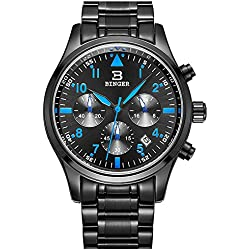 Binger Sport Mens Quartz Watch with Black Dial Chronograph Display and Stainless Steel Bracelet (Blue)