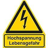 INDIGOS UG - Hochspannung Lebensgefahr Warnschild, selbstklebende Folie - 297x286 mm - Warnung - Sicherheit - Hotel, Firma, Haus