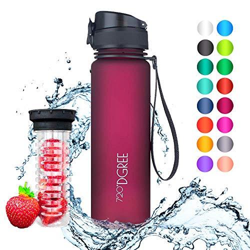 """720°DGREE Trinkflasche \""""uberBottle\"""" - 500 ml, 0,5 l, Pflaume - Neuartige Tritan Wasser-Flasche - Water Bottle BPA Frei - Ideale Sportflasche für Kinder, Fitness, Fahrrad, Sport, Fussball"""