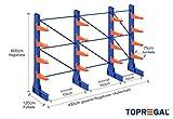 Kragarmregal KR6000 für extrem schwere Lasten, 1000kg/Arm, 3000kg/Ständer, Breite 4,3m, Höhe: 6m, Armtiefe 75cm, 4 Ebenen, einseitige Ausführung