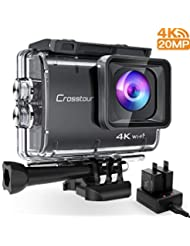 Cross Tour Real 4K 20MP WIFI Underwater Action Camera 40m Cam, Anti Shake, Motion & Loop Recording, Sony Sensor Plus 2Sets of Rechargeable 1350mAh Batteries, USB Charger and Accessories