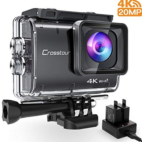 Crosstour CT9500 Echte 4K Action Cam Unterwasserkamera (4K 20MP WiFi Unterwasser 40M Wasserdicht Anti-Shake Helmkamera 2 1350mAh Akkus) Digital Still Camera Kit