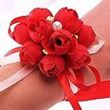 Tutoy Décoration De Mariage Mariage À Poignet Mariée Fleurs De Demoiselle D'Honneur Simulation À La Main Fleur Corsage Bouquets -Red