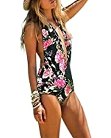 Women's Swimwear Bandage One Piece Monokini Bikini Backless Beachwear Swimsuit Black White