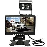 """KKmoon 7"""" TFT Monitor LCD con Parasol Sistema Reverso Visión Trasera Marcha Atrás + Transmisión Inalámbrica Video + Kit Cámara LED Visión Nocturna para Autobús Camión"""