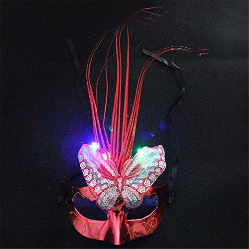 Gesichtsschutz Domino falsche Front Halloween Maske Make-up Tanz Cosplay Glow Maske Halbes Gesicht Leuchtende Maske Rot ()