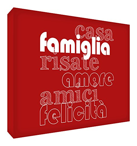 Feel Good Art HAPHME3030-01It Bild auf Leinwand Wand, Stil modernen Liebe, Familie, Haus, Freunde und felicitãâ Extra Grande rot -