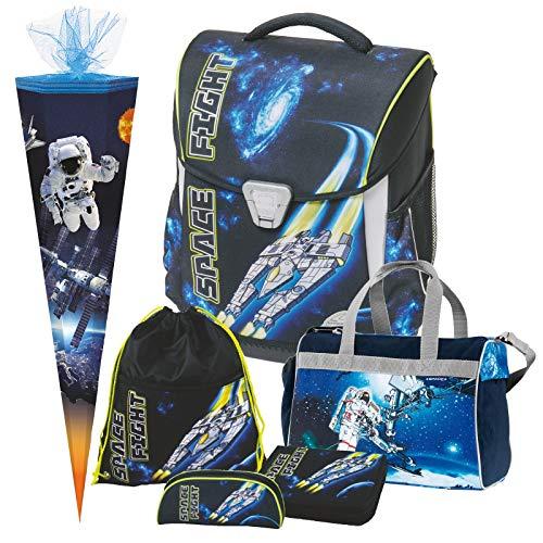 Space Fight - Weltraum Weltall - Schulranzen-Set - LEUCHTET IM Dunkeln - TOOLBAG Basic Schneiders 6teilig mit Sporttasche und SCHULTÜTE - 78436-080