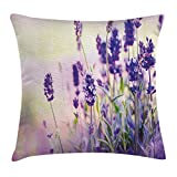 """RGFJJE Taies d'oreillers Velvet Pillow Cover Case Multicolor Lavender Dreamlike Spring Day Fresh Blossoms Aromatic Delicate Wild Flowers Lavender Lilac Green 18"""" x 18"""""""
