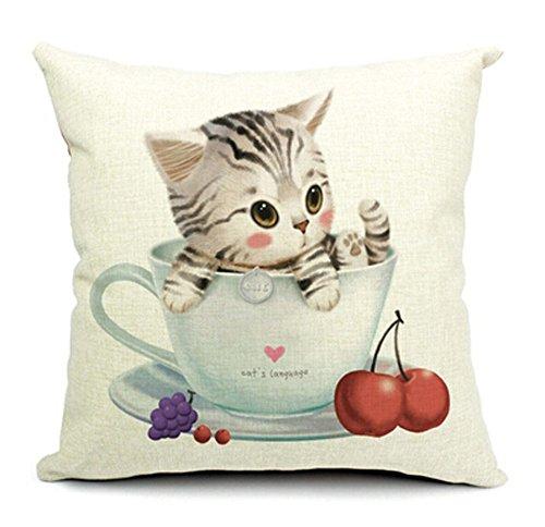 Casa decorativa regla con forma de algodón lino cuadrado funda de cojín almohada gato sofá/coche/cabecero de cama funda de almohada de 18