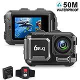 DR.Q Action Kamera 4K 16MP WiFi Ultra HD Sport Kamera 50M Unterwasser Wasserdichte Kamera ohne Geh�use Weitwinkel Objektiv Camcorder mit Sony-Sensor, Fernbedienung, und Montage Zubeh�r-Kit (Schwarz) Bild