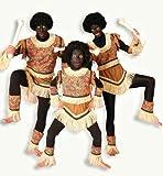 Männer-Kostüm, 6-tlg Kostüm, Ureinwohner, Urbevölkerung, Urstamm, bunt, farbig, braun, hellbraun, blau, gelb, rot, kurz, Fransen, Stroh-Fransen (52)