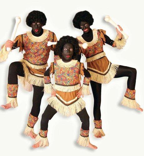 Männer-Kostüm, 6-tlg Kostüm, Ureinwohner, Urbevölkerung, Urstamm, bunt, farbig, braun, hellbraun, blau, gelb, rot, kurz, Fransen, Stroh-Fransen (48/50)