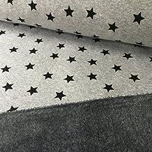Forro polar/sudadera, tejido HEM06, tela para costura y ropa infantil de 0,5m, 50cm x 145cm, diseño de estrellas color gris