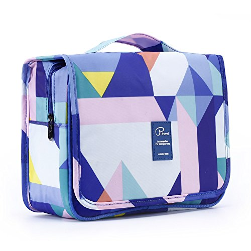 Gtrip Travel Toiletry Bags - Cosmetic Organizer with Multi Pockets & High Quality Zippers, Hanging Toiletry Bag Makeups Shaving & Personal Care for Man Woman & Kids (Geometry Pattern)