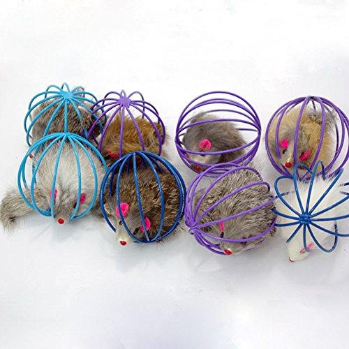 Katzenspielzeug Spielzeug Kugel Plüschmaus Hundespielzeug Falsch Maus in Rattenkäfig für Haustier Katzen Kätzchen Geschenk