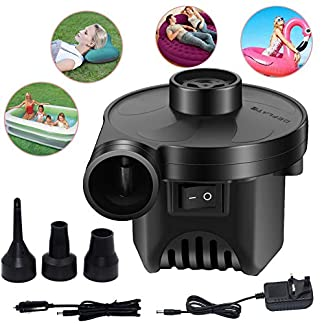 KERUITA Air Pump, Air Mattress Pump for Inflatable Blow up Pool Raft Bed Boat Toy Exercise Ball, 110V AC/12V DC Quick-Fill AC/DC Inflator&Deflator with 3 Nozzles (ACDC) 3